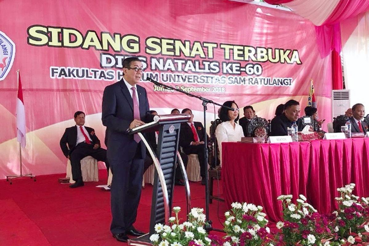 Orasi ilmiah dalam rangka Dies Natalis Fakultas Hukum Universitas Sam Ratulangi, Manado, 7 September 2018.