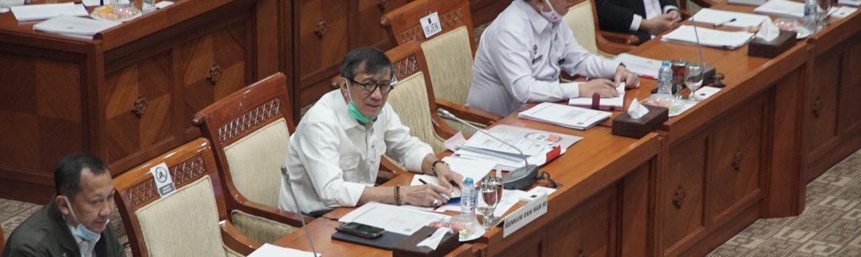 Menkumham Yasonna H. Laoly rapat kerja bersama Komisi III DPR, Senin (22/6/2020).